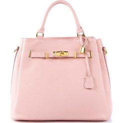 Torebki klasyczne damskie: Skórzana torebka w kolorze jasnoróżowym – 35 x 28 x 17 cm