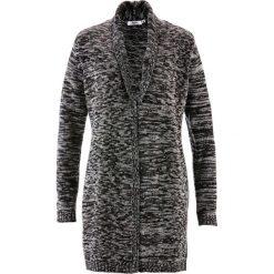 Długi sweter rozpinany, długi rękaw bonprix antracytowy melanż. Szare kardigany damskie marki bonprix. Za 49,99 zł.