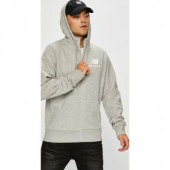 New Balance - Bluza. Szare bluzy męskie rozpinane marki New Balance, l, z bawełny, z kapturem. W wyprzedaży za 299,90 zł.