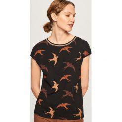 T-shirt we wzory - Czarny. Szare t-shirty damskie marki Reserved, l. Za 39,99 zł.