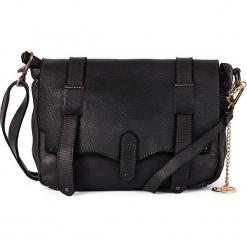 Skórzana torebka w kolorze czarnym - 24 x 22 x 11 cm. Czarne torebki klasyczne damskie Mia Tomazzi, w paski, z materiału. W wyprzedaży za 500,95 zł.