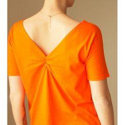 Pomarańczowa dwustronna bluzka S-XL. Brązowe bluzki damskie Pakamera, s, z bawełny, z dekoltem w łódkę. Za 65,00 zł.
