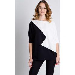 Tuniki damskie eleganckie: Czarno-biała tunika typu nietoperz BIALCON