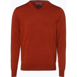 Swetry klasyczne męskie: Tommy Hilfiger – Sweter męski z dodatkiem jedwabiu, pomarańczowy