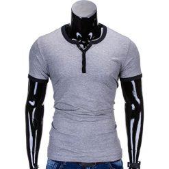 T-SHIRT MĘSKI BEZ NADRUKU S651 - SZARY. Szare t-shirty męskie z nadrukiem Ombre Clothing, m. Za 29,00 zł.