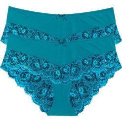 """Figi """"panty"""" (2 pary) bonprix turkusowo-ciemnoniebieski. Niebieskie figi marki bonprix, z bawełny. Za 49,98 zł."""