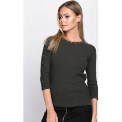 Swetry damskie: Ciemnozielony Sweter Disunite