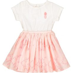 Sukienka z dwóch rodzajów materiału, 1 mies. - 3 lata. Białe sukienki dziewczęce La Redoute Collections, z bawełny, z krótkim rękawem, krótkie, mini. Za 88,16 zł.