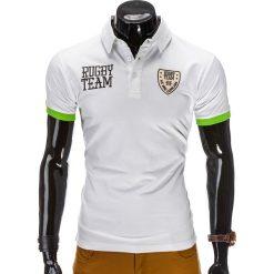 KOSZULKA MĘSKA POLO Z NADRUKIEM S514 - BIAŁA. Białe koszulki polo marki Ombre Clothing, m, w kolorowe wzory, z bawełny. Za 19,99 zł.