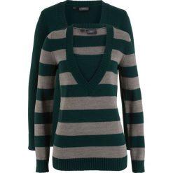 Sweter (2 szt. w opak.) bonprix niebieskozielony w paski + niebieskozielony. Niebieskie swetry oversize damskie bonprix. Za 89,98 zł.