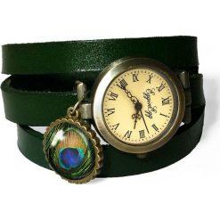 Zegarek skórzany Pawie oko - 0111. Szare zegarki damskie Pakamera. Za 120,00 zł.