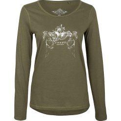 Koszulka w kolorze oliwkowym. Brązowe t-shirty damskie Dreimaster, xs, z nadrukiem, z bawełny, z okrągłym kołnierzem. W wyprzedaży za 64,95 zł.