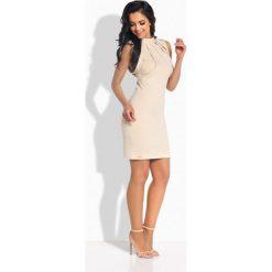 Sukienki balowe: Elegancka sukienka ze stylowymi paskami beżowy