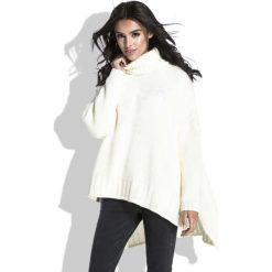 Odzież damska: Ecru Sweter z Szerokim Golfem