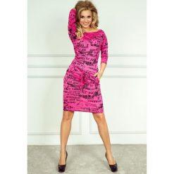 Sukienki: Cher Sukienka sportowa – gazetowe napisy + różowy