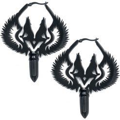 Steel Blackline® Winged Wolves Hoops Pairs Kolczyki czarny. Czarne kolczyki damskie Steel Blackline®. Za 121,90 zł.