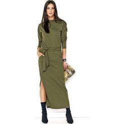 Khaki Komfortowa Maxi Sukienka z Paskiem. Czarne długie sukienki marki Molly.pl, na spotkanie biznesowe, l, z tkaniny, z dekoltem na plecach, dopasowane. Za 123,90 zł.