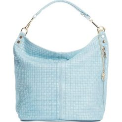 Torebki klasyczne damskie: Skórzana torebka w kolorze błękitnym – 40 x 40 x 14 cm