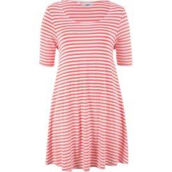 Tunika shirtowa, krótki rękaw bonprix koralowo-biel wełny w paski. Czerwone tuniki damskie bonprix, w paski, z wełny, z krótkim rękawem. Za 89,99 zł.