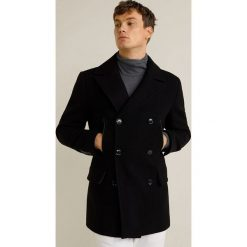 Mango Man - Płaszcz Dustin. Czarne płaszcze na zamek męskie Mango Man, l, z aplikacjami, z bawełny, klasyczne. Za 549,90 zł.