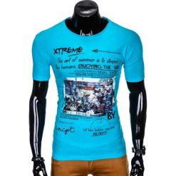T-SHIRT MĘSKI Z NADRUKIEM S997 - TURKUSOWY. Niebieskie t-shirty męskie z nadrukiem Ombre Clothing, m. Za 29,00 zł.