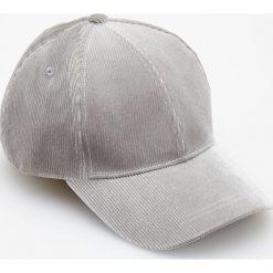Czapki z daszkiem damskie: Sztruksowa czapka z daszkiem – Jasny szar
