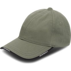 Czapka z daszkiem EMPORIO ARMANI - 627502 8A552 00084  Military Green. Szare czapki z daszkiem damskie marki Emporio Armani, l, z nadrukiem, z bawełny, z okrągłym kołnierzem. W wyprzedaży za 169,00 zł.