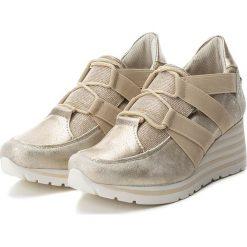 Sneakersy damskie: Sneakersy w kolorze beżowym na koturnie
