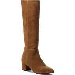 Kozaki NESSI - 880/N Camel W. Brązowe buty zimowe damskie Nessi, z materiału, przed kolano, na wysokim obcasie, na obcasie. W wyprzedaży za 309,00 zł.