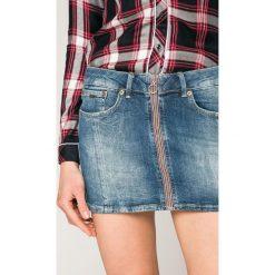 Pepe Jeans - Spódnica Ziva. Szare minispódniczki Pepe Jeans, z bawełny, dopasowane. W wyprzedaży za 219,90 zł.