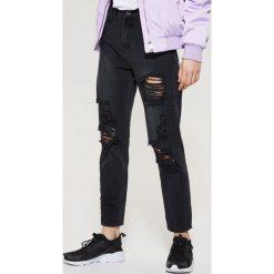Spodnie damskie: Jeansy z wysokim stanem - Czarny