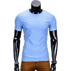 T-shirty męskie: T-SHIRT MĘSKI BEZ NADRUKU S870 – BŁĘKITNY