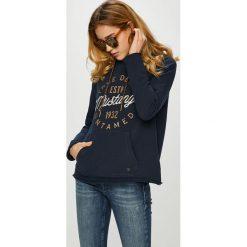 Mustang - Bluza. Niebieskie bluzy z kapturem damskie marki Mustang, z aplikacjami, z bawełny. Za 269,90 zł.