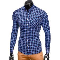 KOSZULA MĘSKA W KRATĘ Z DŁUGIM RĘKAWEM K394 - GRANATOWA. Brązowe koszule męskie na spinki marki Ombre Clothing, m, z aplikacjami, z kontrastowym kołnierzykiem, z długim rękawem. Za 69,00 zł.