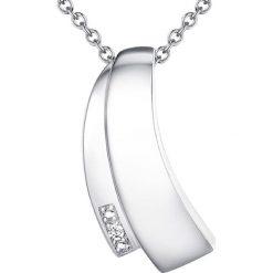 Naszyjniki damskie: Srebrny naszyjnik z diamentem