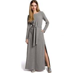Szara Sukienka Dresowa Maxi z Dekoltem Caro z Rozcięciem. Szare długie sukienki marki Molly.pl, l, w paski, z bawełny, oversize. Za 149,90 zł.