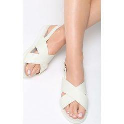 Białe Sandały Mellowness. Białe sandały damskie Born2be, z materiału, na obcasie. Za 79,99 zł.