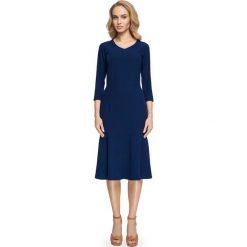 Sukienki: Granatowa Dopasowana Sukienka Midi Rozszerzana u Dołu