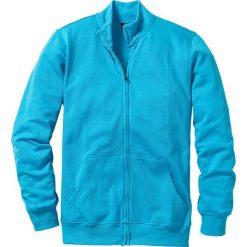 Bluza rozpinana bonprix turkusowy. Zielone bluzy dresowe męskie marki bonprix, w kropki, z kopertowym dekoltem, kopertowe. Za 44,99 zł.