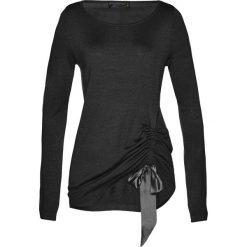 Swetry klasyczne damskie: Sweter z marszczeniem bonprix czarny