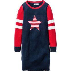 Sukienki dziewczęce: Sukienka dzianinowa z motywem gwiazdy bonprix ciemnoniebiesko-czerwony