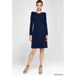 Sukienki hiszpanki: Sukienka z falbankami na ramionach s89 – granat