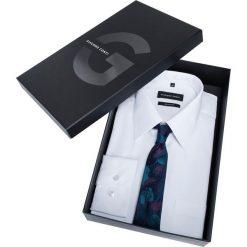 Prezentownik: koszula i krawat. Białe koszule męskie na spinki marki Giacomo Conti, m, z jedwabiu, z klasycznym kołnierzykiem. Za 199,00 zł.