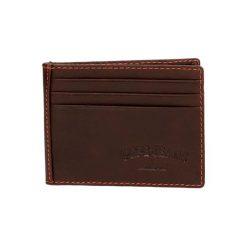 Portfele męskie: Skórzany portfel w kolorze brązowym – (S)9,5 x (W)7,5 cm