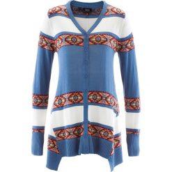 Sweter rozpinany bonprix niebieski dżins w paski. Niebieskie kardigany damskie marki bonprix. Za 44,99 zł.
