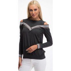 Bluzki damskie: Grafitowa bluzka z odkrytymi ramionami 3649