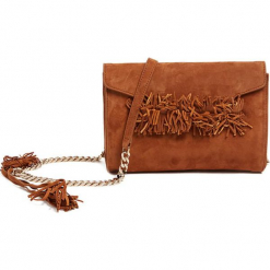Skórzana torebka w kolorze jasnobrązowym - (S)24 x (W)16 x (G)5 cm. Brązowe torebki klasyczne damskie Tosca Blu, w paski, z materiału. W wyprzedaży za 369,95 zł.