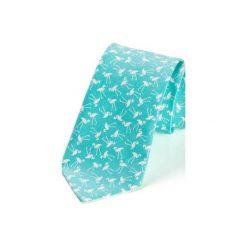 Krawat męski FLAMINGI turkus. Niebieskie krawaty męskie HisOutfit, z materiału. Za 129,00 zł.
