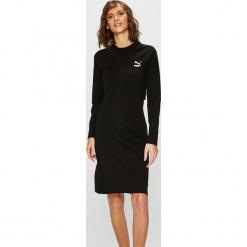 Puma - Sukienka. Czarne sukienki dzianinowe marki Puma, na co dzień, l, casualowe, z okrągłym kołnierzem, mini, dopasowane. Za 219,90 zł.