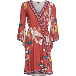 Sukienka kopertowa bonprix ciemnopomarańczowy z nadrukiem. Niebieskie sukienki asymetryczne marki bonprix, z nadrukiem. Za 79,99 zł.